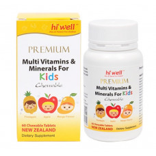 Hi Well Premium Multi Vitamins & Minerals For Kids 60 Chewable Tablets