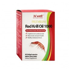 Hi Well Premium Red Krill Oil 1000mg 60 Softgel Capsules