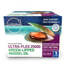 Lifespan Ultra-Flex 25000 Green Lipped Mussel Oil 120 Capsules