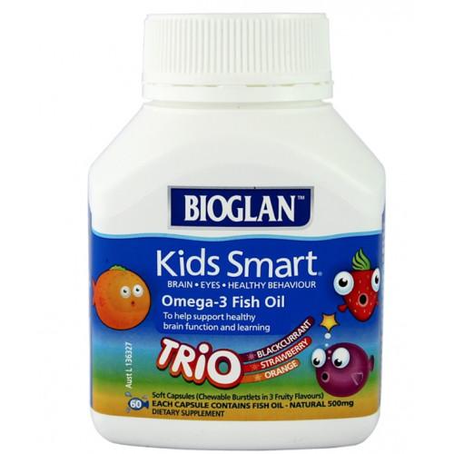 Bioglan kids smart omega 3 fish oil trio 60 capsules for Kids fish oil