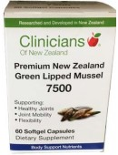 Clinicians Premium New Zealand Green Lipped Mussel 7500 60 Capsules